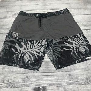 O'Neill Men's Gray Black Board Shorts Swimwear 38
